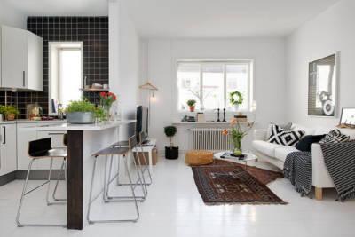 open space nordic white living room 400x267 - Интериорен дизайн в скандинавски стил за малкото жилище